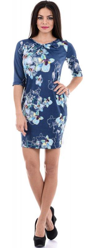 Купить Красивое повседневное платье синего цвета с цветами
