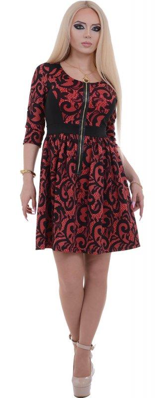 Купить Кокетливое коктейльное платье красного цвета с узором