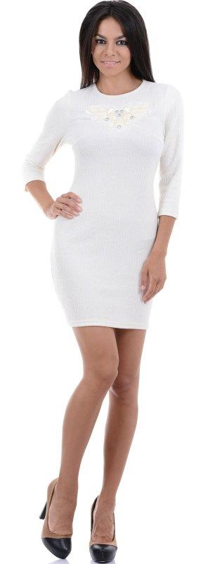 Купить Элегантное вечернее платье белого цвета с длинным рукавом