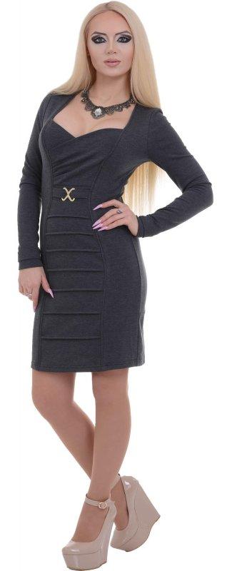 Купить Модное коктейльное платье серого цвета с длинным рукавом
