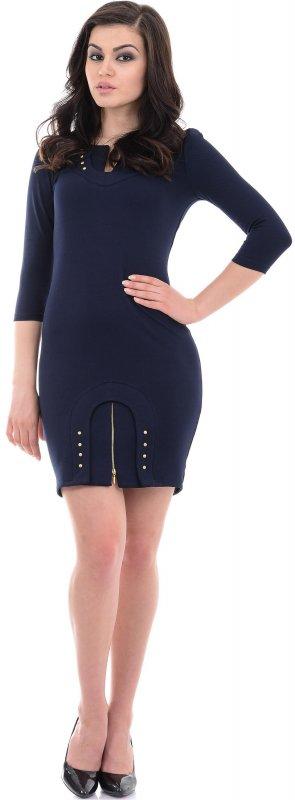 Купить Модное офисное платье синего цвета с длинным рукавом
