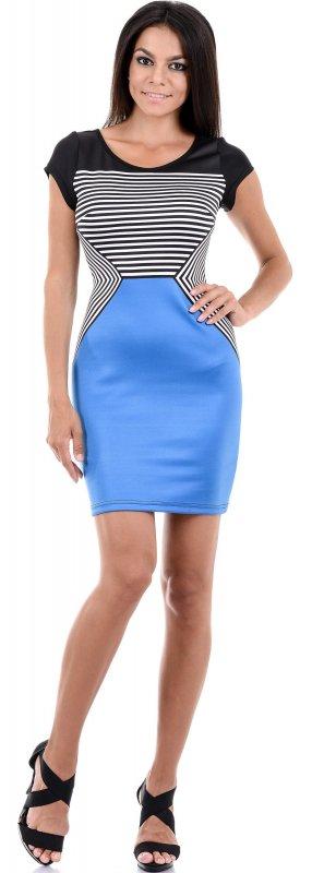 Купить Необычное повседневное платье в полоску с коротким рукавом