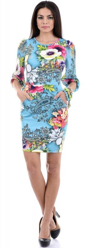 Купить Нарядное повседневное платье голубого цвета с цветами