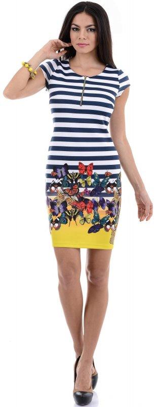 Купить Эффектное пляжное платье в полоску с цветами