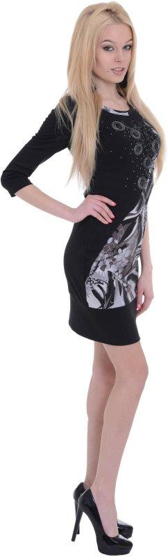 Купить Оригинальное повседневное платье-туника черного цвета