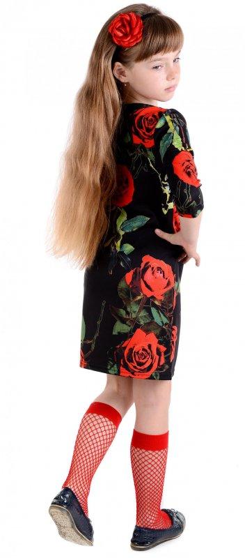 Купить Стильное черное платье с яркими розами