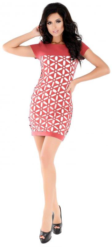 Купить Стильное офисное платье кораллового цвета с коротким рукавом