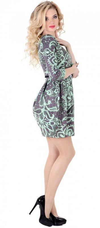 Купить Стильное офисное платье с узором и коротким рукавом