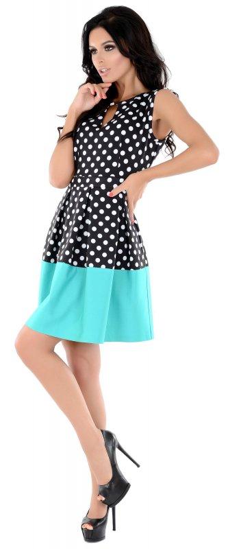 Купить Стильное платье черного цвета в горох без рукавов