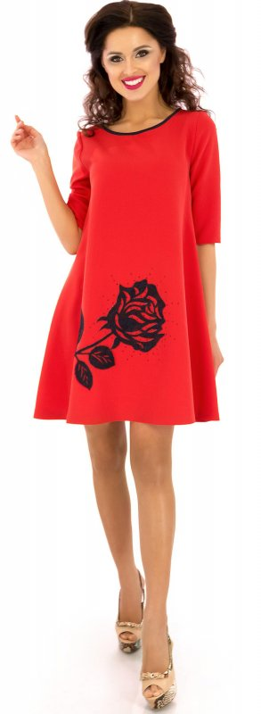Купить Стильное повседневное платье красного цвета