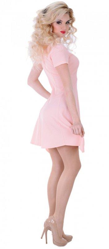 Купить Стильное повседневное платье розового цвета с коротким рукавом