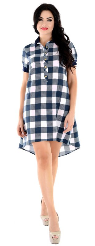 Купить Стильное повседневное платье в клетку с коротким рукавом