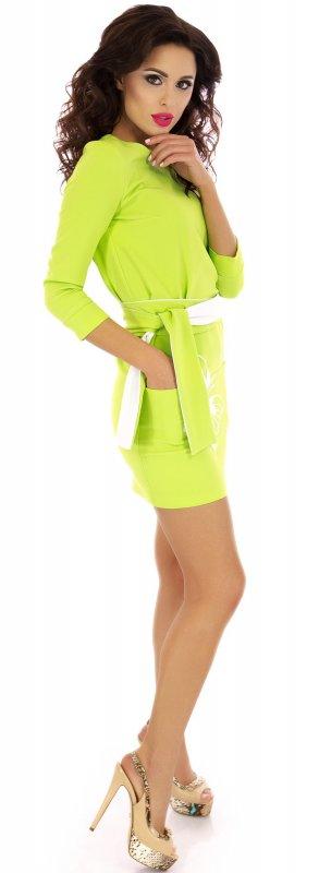 Купить Трендовое повседневное платье салатового цвета с длинным рукавом