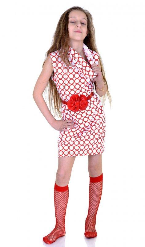 Купить Трендовый сарафан белого цвета с красным поясом