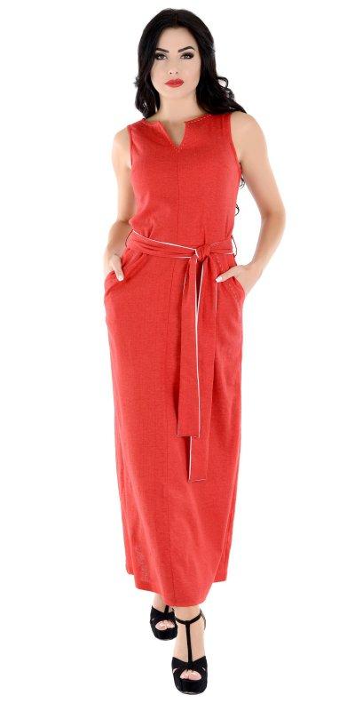 Купить Яркое длинное летнее платье красного цвета без рукавов