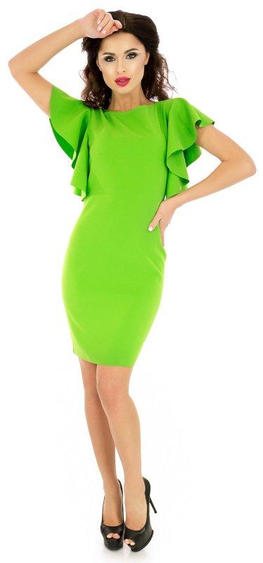 Яркое коктейльное платье салатового цвета с коротким рукавом