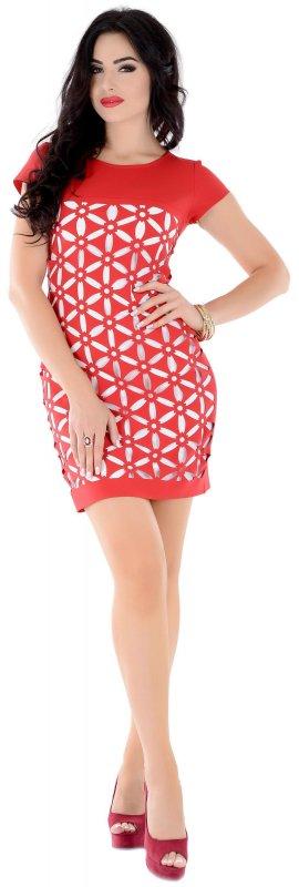 Купить Яркое офисное платье красного цвета с коротким рукавом