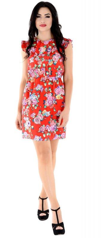 Купить Яркое повседневное платье красного цвета без рукавов