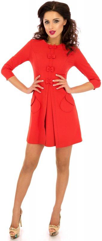 Купить Яркое повседневное платье красного цвета с длинным рукавом