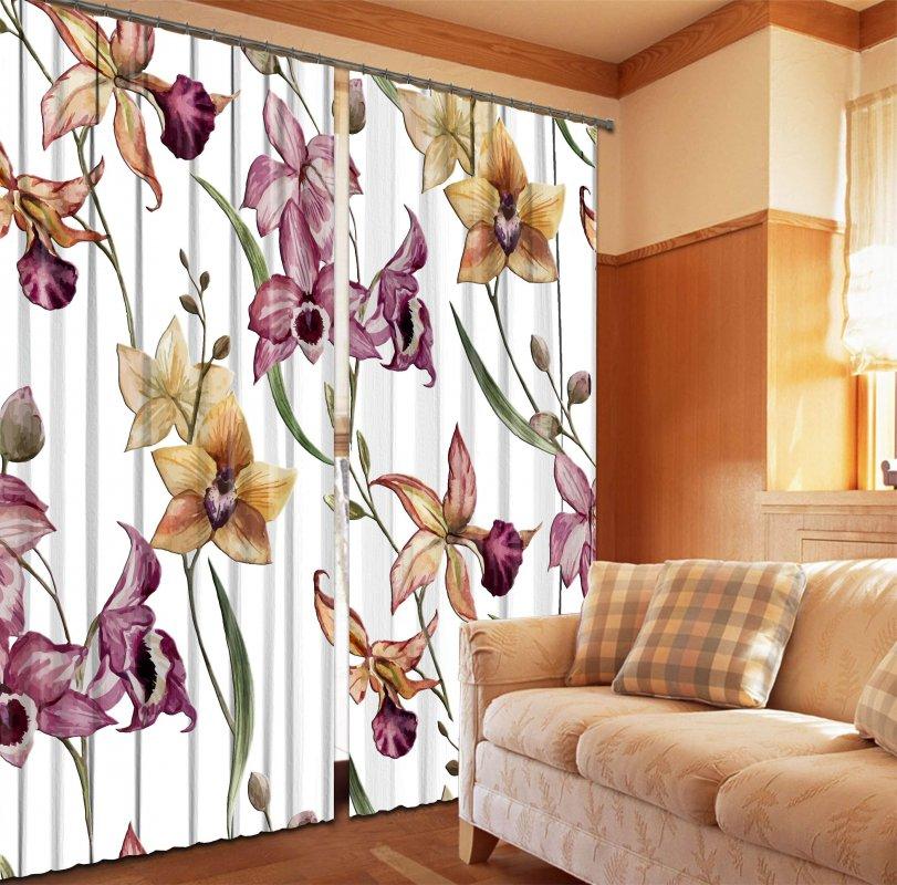 Купить Фотошторы Орхидеи на белом