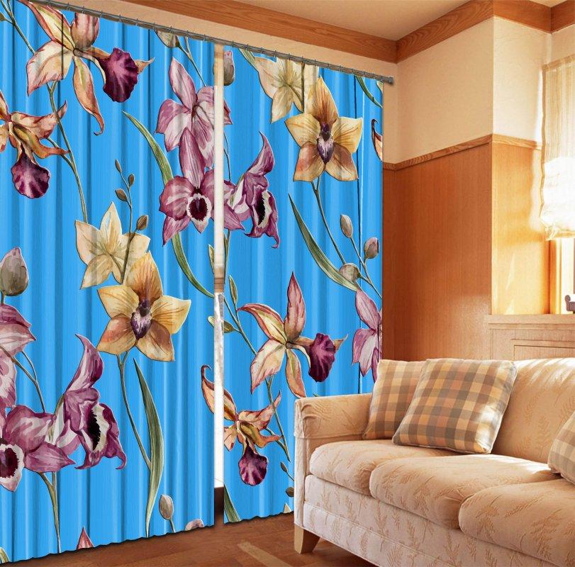 Купить Фотошторы Орхидеи на голубом