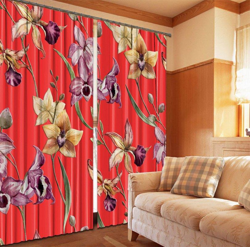 Купить Фотошторы Орхидеи на красном