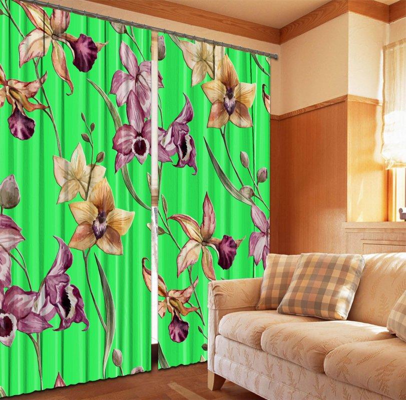 Купить Фотошторы Орхидеи на зеленом