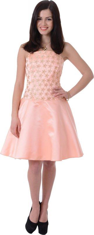 Купить Милое вечернее платье персикового цвета на бретельках