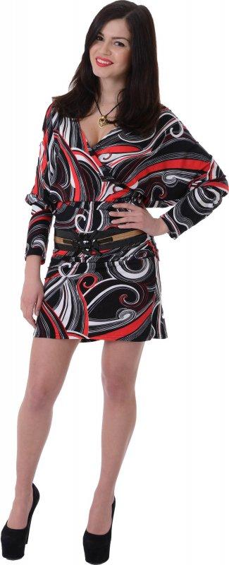 Купить Необычное коктейльное платье с узором и длинным рукавом