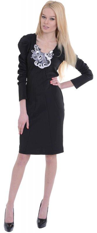 Купить Оригинальное офисное платье черного цвета с длинным рукавом