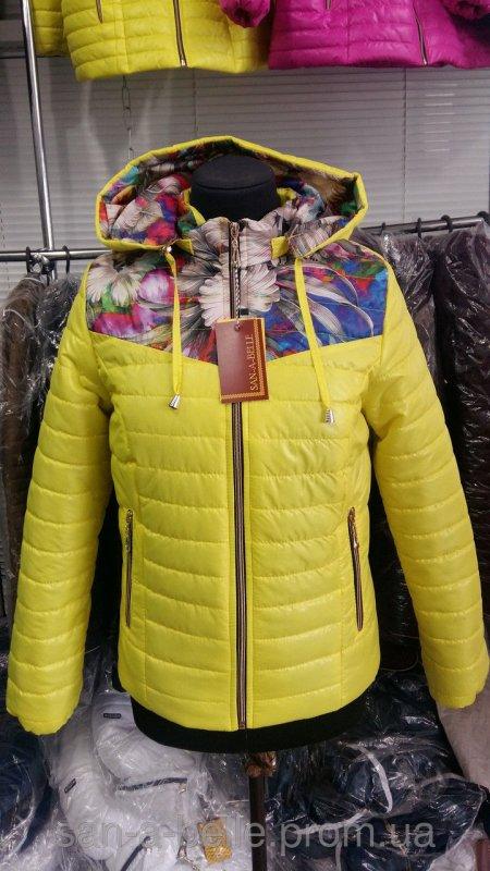 Куртка женская весенняя модель Цветы желтый