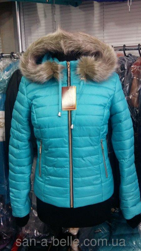 Куртка женская зимняя короткая. Модель Д3 бирюза