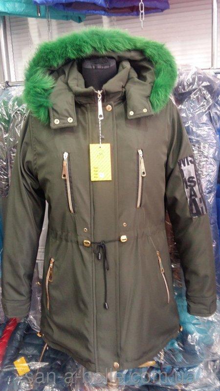 Куртка женская зимняя модель Парка Мех хаки