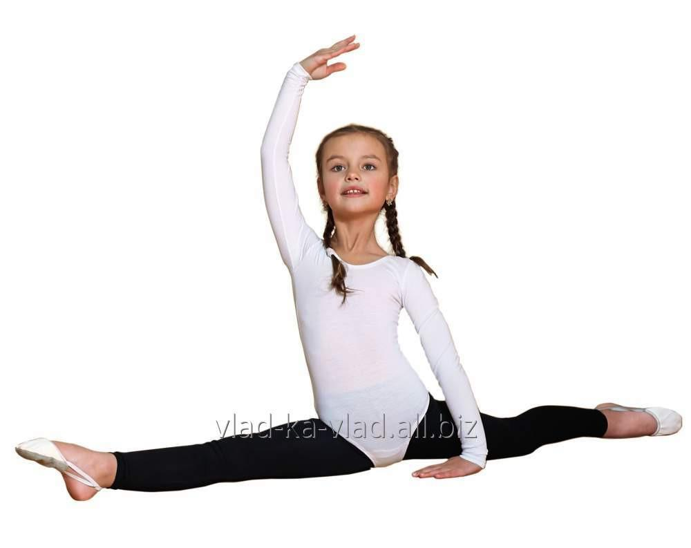 Купить Купальник для гимнастики белый и чёрный хб 92 проц.,эластан 8 проц....плотность 220 гр.м