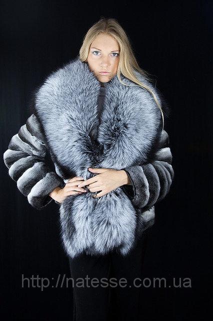 Шуба полушубок из шиншиллы и финской чернобурки Natural chinchilla fur coats jackets