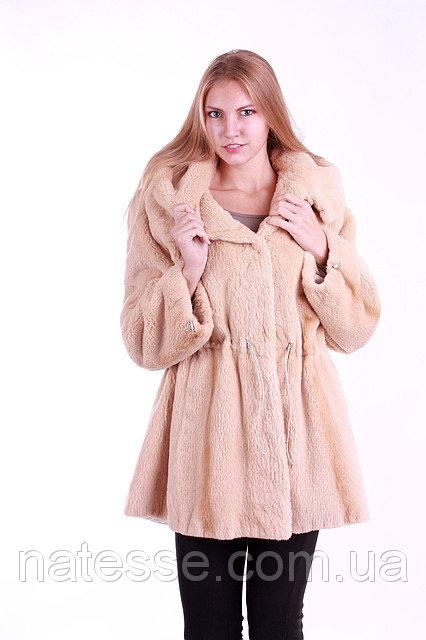 Шуба полушубок из бобра  с капюшоном   Pearl-color beaver fur coat, flared