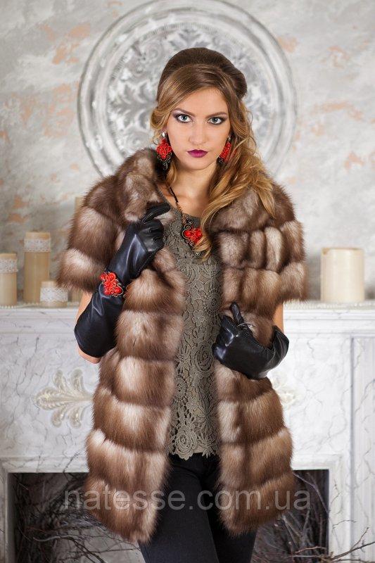 """Жилет из светлой куницы """"Кристин""""  marten fur vest gilet"""