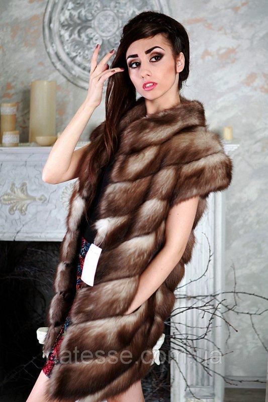 """Жилет из светлой  куницы """"Лиза""""  marten fur vest gilet"""
