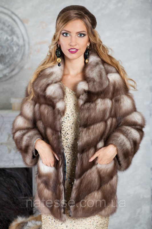 """Полушубок из светлой куницы """"Арина"""" marten fur coat jacket"""