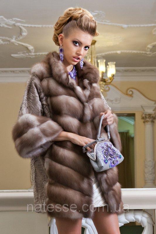 """Шуба из светлой куницы и каракульчи """"Ванда"""" marten fur coat jacket"""