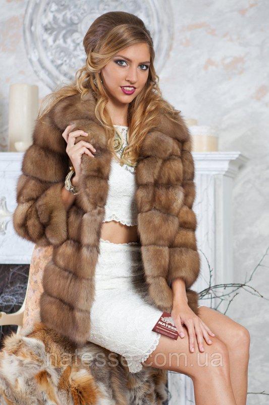 """Полушубок жилет из светлой куницы """"Грета"""" marten fur coat jacket"""