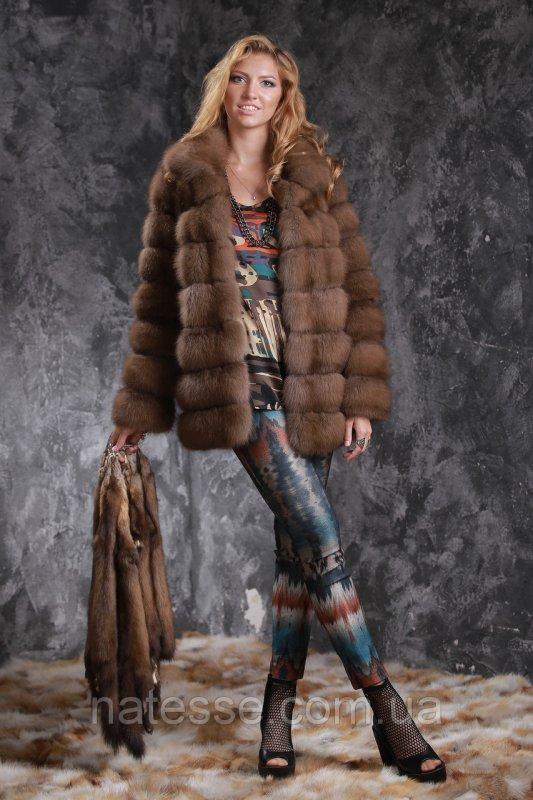 Шуба полушубок из лесной куницы marten fur coat jacket