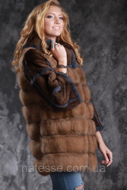 Шуба полушубок из лесной куницы и американской норки marten fur coat jacket