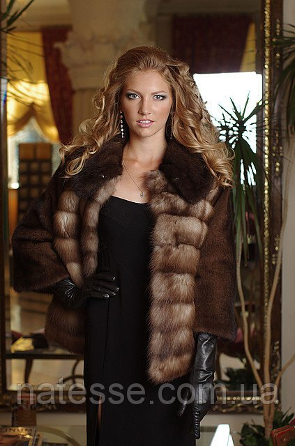 Шуба полушубок из куницы и норки marten fur coat jacket