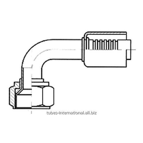 Фитинг 90° с внутренней резьбой UNF, тип SAE, конус 45°