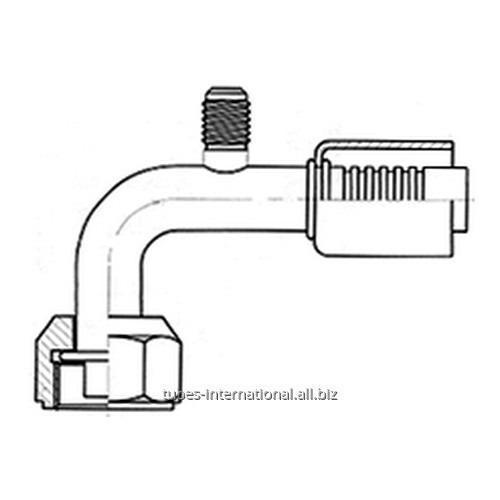 Фитинг 90° с внутренней резьбой UNF, трубчатый, с клапаном R134