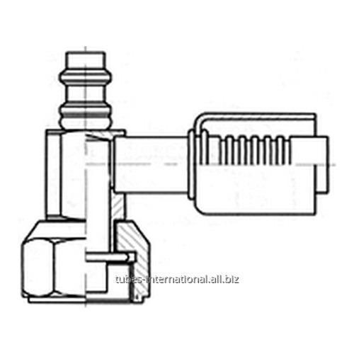 Фитинг 90° компакт с внутренней резьбой UNF, трубчатый, с клапаном R134