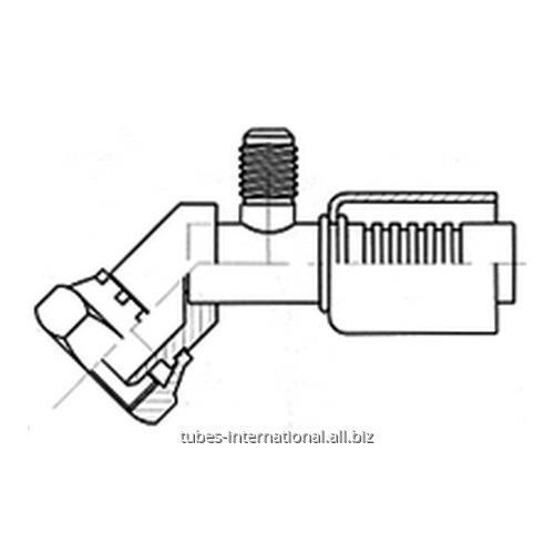Фитинг 45° для компрессора, с внутренней резьбой UNF, с клапаном R12
