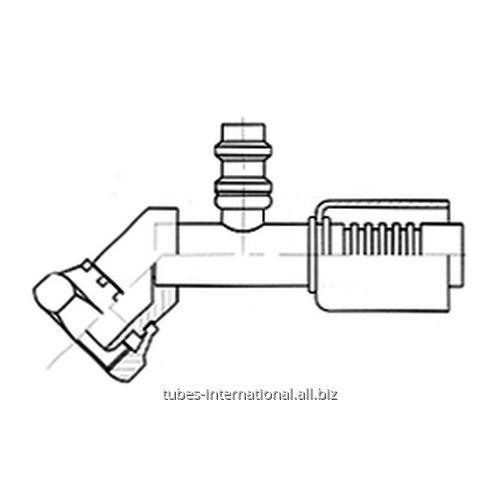 Фитинг 45° для компрессора, с внутренней резьбой UNF, с клапаном R134
