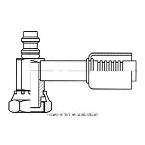 Фитинг 90° для компрессора, с внутренней резьбой UNF, с клапаном R134
